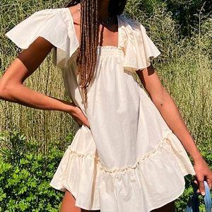 Free People Cream Boho Imogene Baby Doll Dress L